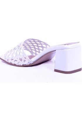 Ustalar Ayakkabı Beyaz Kadın Topuklu Terlik 036.2153