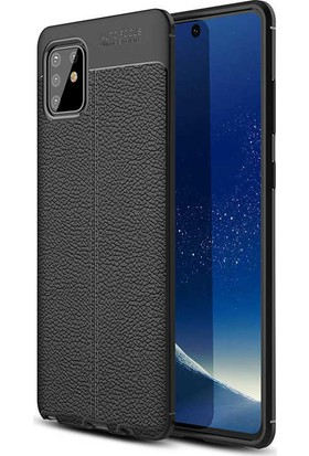 Samsung Galaxy A81 Note 10 Lite Kılıf Kamera Korumalı Deri Görünümlü Rugan Armor Tam Koruma Silikon Siyah