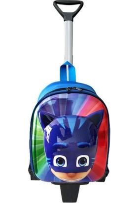 Bebebebek Pijamaskeliler Okul Çantası - Çekçekli Sırt Çantası - 3'lü Set Maske