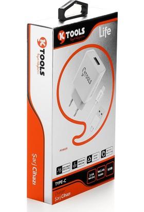 Ktools Life 12W Adaptör 2.4A 1m Type C Kablolu Hızlı Şarj Cihazı