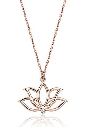 Sembol Gold Lotus Pırlanta Kolye