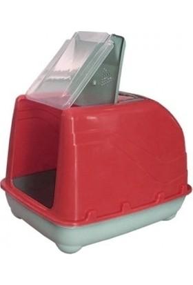 Lüks Üstü Açılabilir Kedi Tuvaleti 38-50 cm Kırmızı