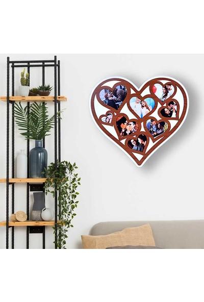 Omg Ahşap 8 Fotoğraflı Kalp Tasarımlı Duvar Fotoğraf Çerçevesi