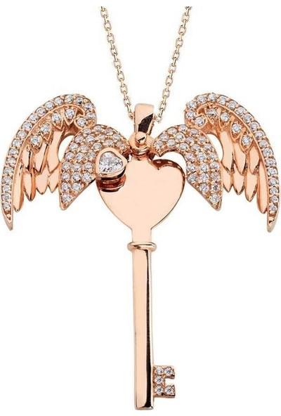 Takılingo 925 Ayar Gümüş Melek Motifli Kişiye Özel Harfli Anahtar Kolye Rose Renk