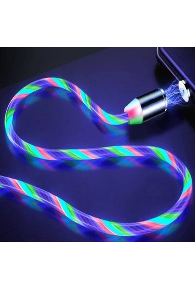 Judas Lightning Magnetic Akan Led Işıklı Şarj Kablosu - 2 mt