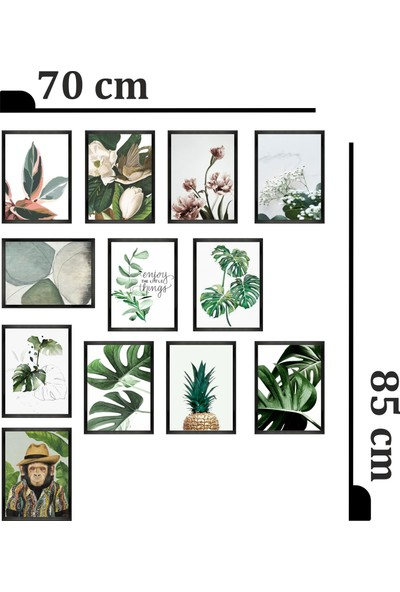 Dekorasna 12 Parça Çerçeve Görünümlü Mdf Tablo RMD32