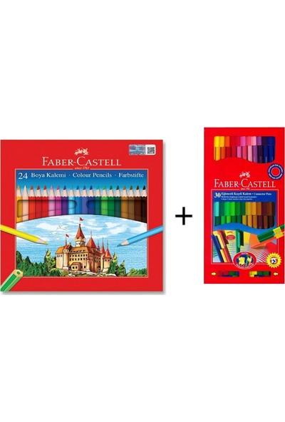 Faber-Castell 24'lü Kuru Boya + Faber-Castell 30 Renk Eğlenceli Keçeli Kalem