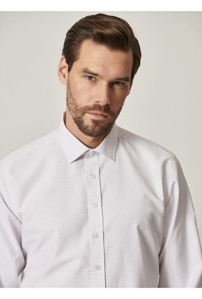 Altınyıldız Classics Tailored Slim Fit Dar Kesim Klasik Gömlek Yaka Armürlü Gömlek