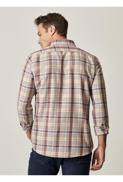 Altınyıldız Classics Tailored Slim Fit Düğmeli Yaka Kareli Gömlek