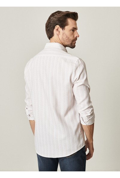 Altınyıldız Classics Tailored Slim Fit Dar Kesim Düğmeli Yaka Armürlü Gömlek