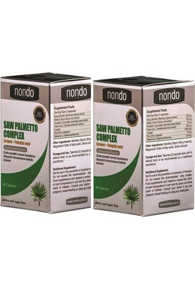 Nondo Saw Palmetto Complex 60 Kapsül 2 Adet
