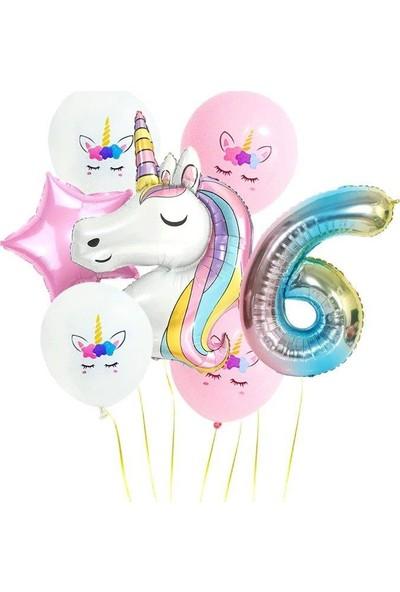 Kullan At Party Gökkuşağı Rakam Unicorn Folyo Balon Seti 6 Yaş