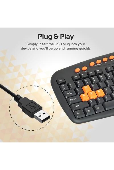 Promate Easykey-2 Klavye Ultra İnce Multimedya Tuşlu Tam Boy Kablolu İngilizce Q Klavye