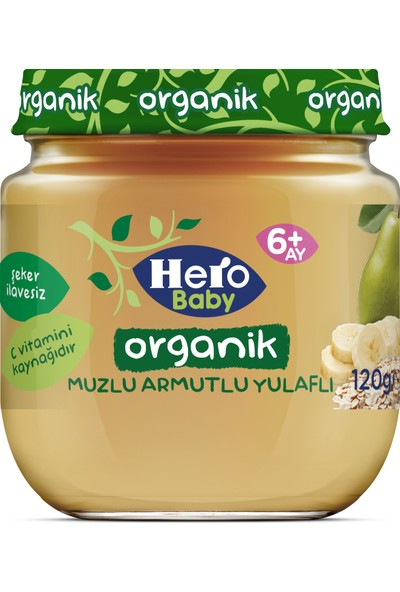 Hero Baby Organik Muzlu Armutlu Yulaflı Kavanoz Mama 120g