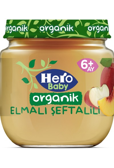 Hero Baby Organik Elma Şeftali Püresi Kavanoz Mama 120g