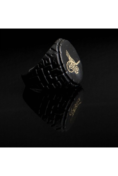 Selens Osmanlı Tuğra Sembol Siyah Renk Erkek Ayarlanabilir Çelik Yüzük