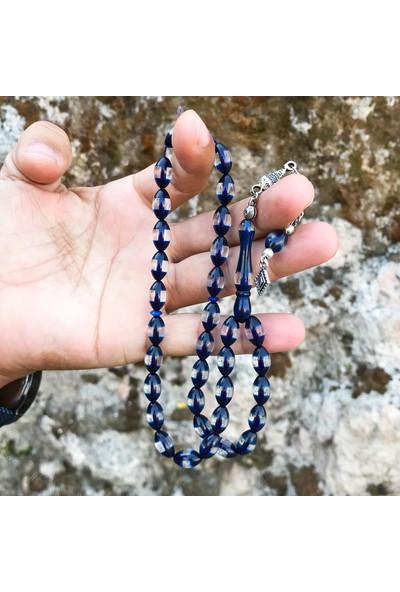Midyat Nurtaş Gümüş Mavi Renk Sürmeli Toz Kehribar Tesbih
