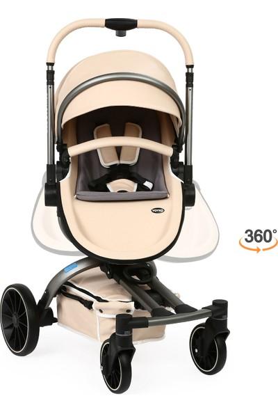 Yoyko Spin 360 Derece Dönebilen Bebek Arabası Latte Gri Kasa