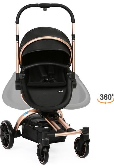 Yoyko Spin 360 Derece Dönebilen Bebek Arabası 3 in 1 SiyahRose Kasa