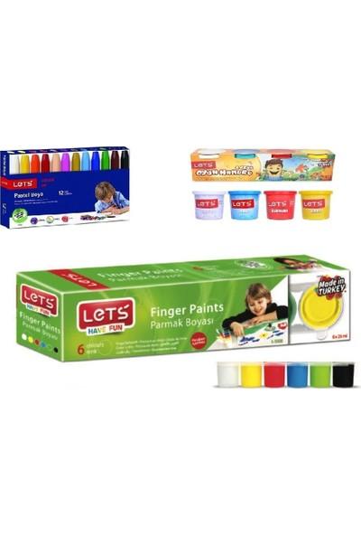 Let's Oyun Hamuru Parmak Boya Pastel Boya 3'lü