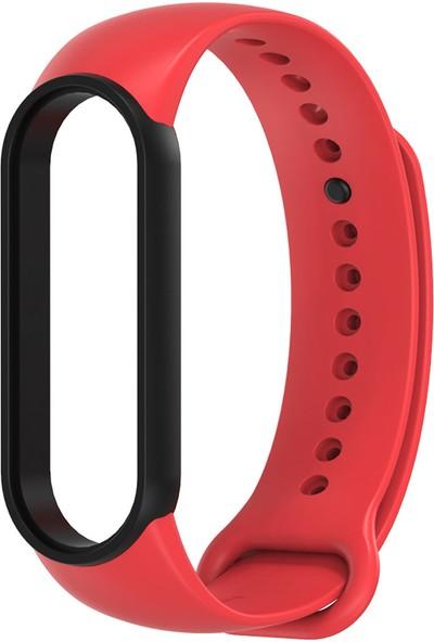 Xiaomi Mi Band 5 Akıllı Bileklik Kordonu Antialerjik Silikon Kırmızı - Siyah