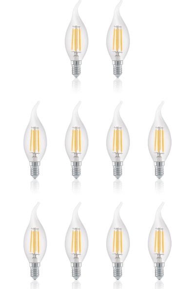 Heka 4W Dimmerli E14 C 35 Rustik LED Ampul 10'lu Paket ERD23