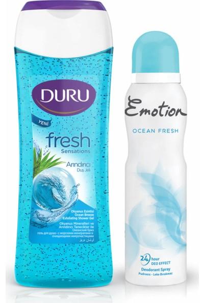 Duru Okyanus Esintisi Duş Jeli 250 ml + Emotion Ocean Fresh Kadın Deodorant 150 ml