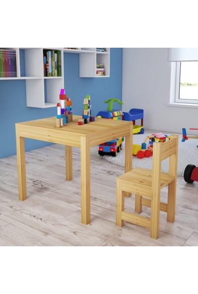 Zerka Concept Niyola Masif Ahşap Naturel Çocuk Masa Sandalye