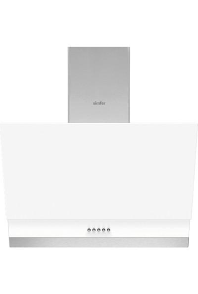 Simfer 9604 60 cm Beyaz Eğik Cam Davlumbaz