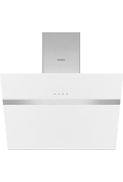 Simfer 8612 60 cm Beyaz Eğik Cam Davlumbaz-Touch Kontrol