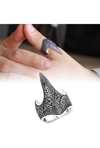 Takılingo 925 Ayar Gümüş Kalem Işleme Model Erkek Okçu Zihgir Yüzüğü