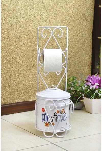 Yıldıray Metal Banyo Seti Tuvalet Kağıtlığı ve Çöp Kovası Beyaz