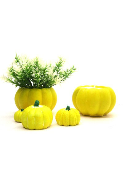 Masif Dekor Sarı Balkabağı Saksıda Mum ve Yapay Çiçek 5li Set