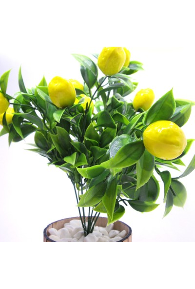 Masif Dekor Dekoratif Ahşap Saksıda Limon Ağacı - 36CM