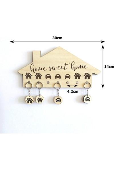 Dekoratif Ev Görünümlü Mıknatıslı Anahtar Askısı - Akçaağaç