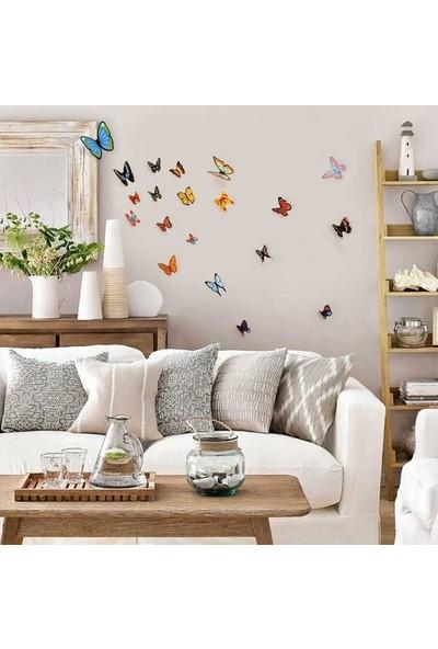 Artikel 3D Kelebekler Duvar Süsü 20 Adet, 3 Boyutlu Duvar Süsü, Üç Boyutlu Kelebek