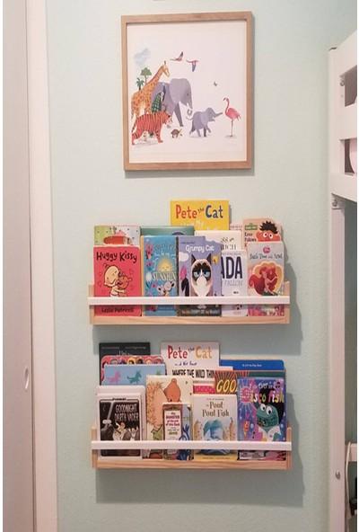 Bb Askılı Çocuk Odası Duvar Rafı Ahşap Kitaplık