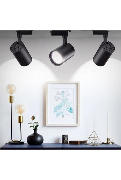 Real LED 2 Metre Siyah Ray 6'lı Siyah LED Ray Spot Gün Işığı 3200 K
