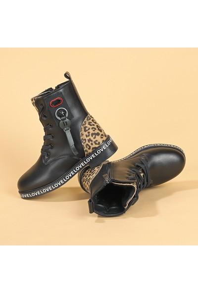 Kiko Twg 7085 Kışlık Içi Termal Kürklü Kız Çocuk Bot Ayakkabı Siyah Leopar