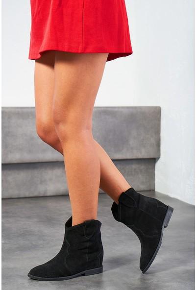 Louis Concus Siyah Süet Deri Kadın Gizli Topuk Bot