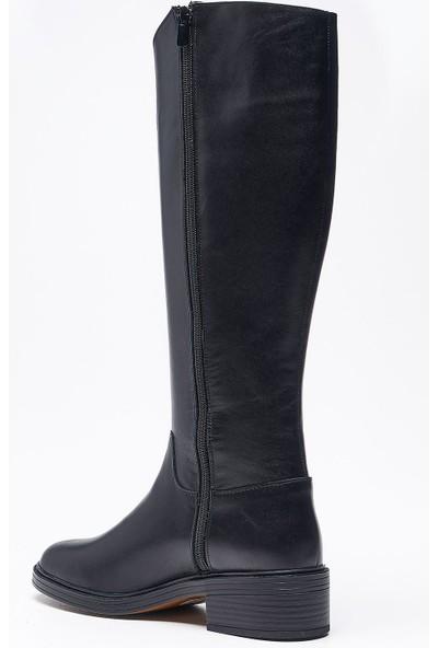 Louis Tenes Siyah Deri Kadın Çizme