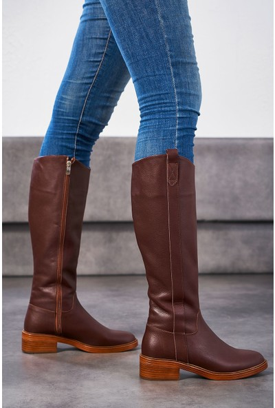 Louis Tenes Kahverengi Deri Kadın Çizme
