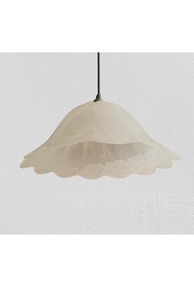Wınd Lıghtıng Medea Tekli Sarkıt, Beyaz Renk Alabastır Cam, E27 Beyaz Renk Plastik Duylu