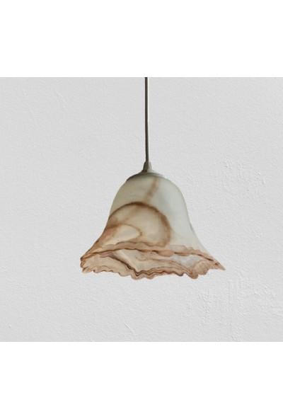 Wınd Lıghtıng Melos Tekli Sarkıt, Beyaz Kahve Alabastır Cam, E27 Beyaz Renk Plastik Duylu