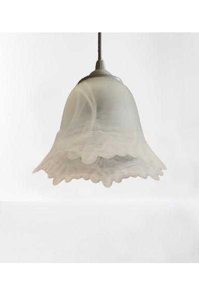 Wınd Lıghtıng Melos Tekli Sarkıt, Beyaz Renk Alabastır Cam, E27 Beyaz Renk Plastik Duylu