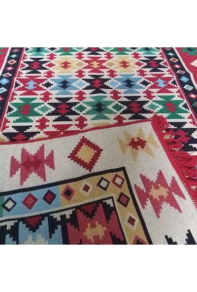 Voho Tekstil Çift Taraflı Kilim - Otantik Yıldızlı Desen Kilim Yolluk