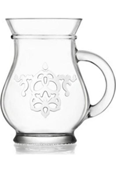 Lav Cam Kulplu Ayran Bardağım 6'lı Su Meşrubat Bardağı