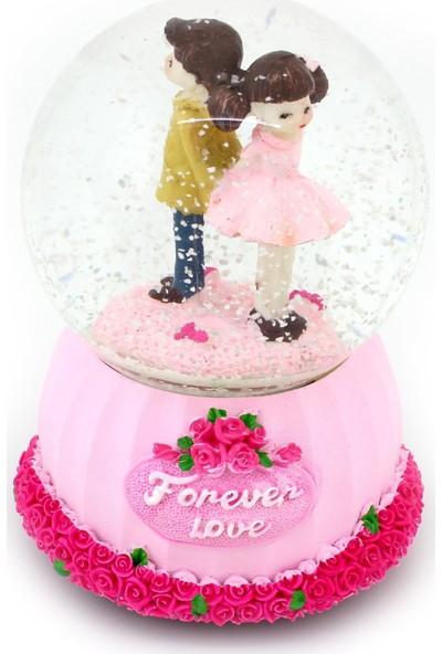 Netodak Forever Love Büyük Boy Işıklı Otomatik Kar Püskürten Pembe Kar Küresi