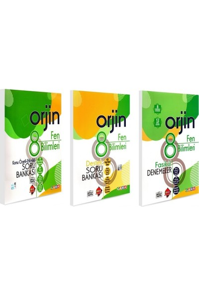 Gama Yayınları Orjin Fen Bilimleri 3 Kitap Birden 8. Sınıf