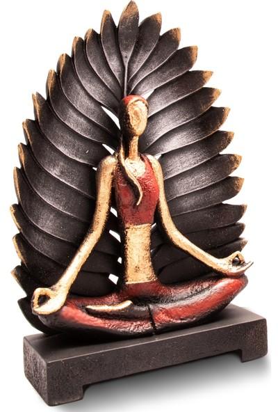 Gift Garden Yoga Yapan Kadın Eller Aşağıda Palmiye Kırmızı